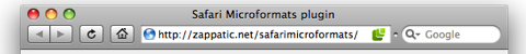 Safari Microformats plugin
