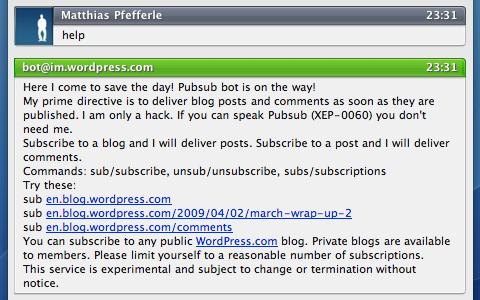 XMPP on WordPress.com