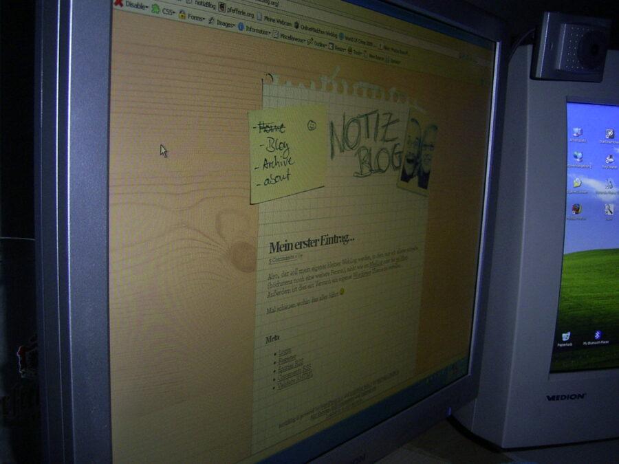 Ein Bild von meinem ersten Eintrag auf notiz.Blog